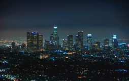 Night view of downtown Los Angeles, California United States. Night view of downtown Los Angeles, California Royalty Free Stock Photos