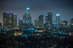 Night view of downtown Los Angeles, California United States. Night view of downtown Los Angeles, California Royalty Free Stock Photo
