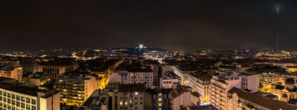 Night view of downtown in Lyon, France Stock Photos