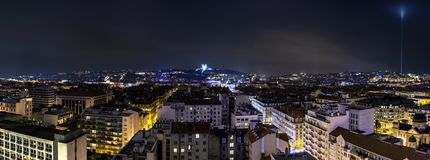 Night view of downtown in Lyon, France Royalty Free Stock Image