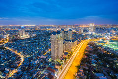 Night view at downtown of Sai Gon Cityscape. Night view of Sai Gon Cityscape at downtown of Ho Chi Minh  City, Vietnam in sunrise or sunset Royalty Free Stock Photography