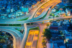 Night view at downtown of Sai Gon Cityscape. Night view of Sai Gon Cityscape at downtown of Ho Chi Minh  City, Vietnam in sunrise or sunset Stock Images