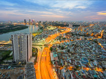Night view at downtown of Sai Gon Cityscape. Night view of Sai Gon Cityscape at downtown of Ho Chi Minh  City, Vietnam in sunrise or sunset Royalty Free Stock Photos