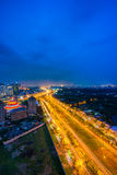 Night view at downtown of Sai Gon Cityscape. Night view of Sai Gon Cityscape at downtown of Ho Chi Minh  City, Vietnam in sunrise or sunset Stock Photo