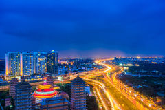 Night view at downtown of Sai Gon Cityscape. Night view of Sai Gon Cityscape at downtown of Ho Chi Minh  City, Vietnam in sunrise or sunset Stock Photos