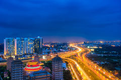 Night view at downtown of Sai Gon Cityscape. Night view of Sai Gon Cityscape at downtown of Ho Chi Minh  City, Vietnam in sunrise or sunset Stock Image