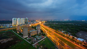 Night view at downtown of Sai Gon Cityscape. Night view of Sai Gon Cityscape at downtown of Ho Chi Minh  City, Vietnam in sunrise or sunset Stock Photography