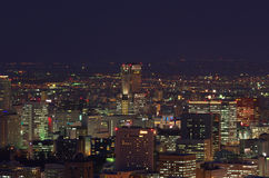Night view of downtown Sapporo city Stock Photography