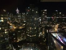 Night view of downtown Vancouver city Stock Photos