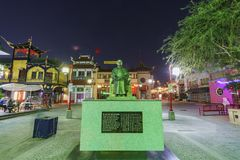 Night view of Dr. Sun Yat-Sen statue in the Chinatown central pl. Los Angeles, OCT 19: Night view of Dr. Sun Yat-Sen statue in the Chinatown central plaza on OCT Royalty Free Stock Photo