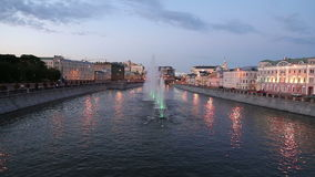 Night view on the drain channel and fountains, Moscow, Russia Royalty Free Stock Image