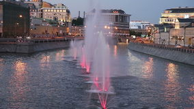 Night view on the drain channel and fountains, Moscow, Russia stock video