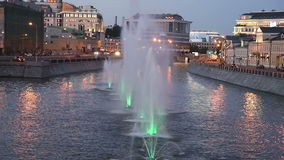 Night view on the drain channel and fountains, Moscow, Russia Stock Images