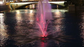 Night view on the drain channel and fountains, Moscow, Russia stock footage
