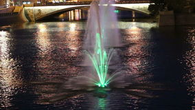 Night view on the drain channel and fountains, Moscow, Russia stock video footage