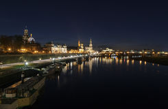 Night view of the Dresden old town architecture Stock Image
