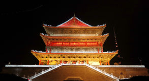 Night view of Drum Tower in Xian Stock Photos