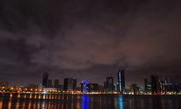 Night View of Dubai Stock Photo