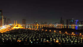 Night View of Dubai. A night view of a lagoon in Dubai stock images