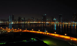 Night View of Dubai. A night view of a lagoon in Dubai royalty free stock image