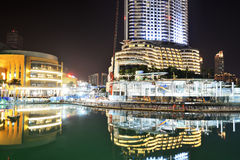 The Night view on Dubai Mall and Address hotel Royalty Free Stock Photo