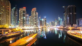 Night view on dubai marina stock video footage