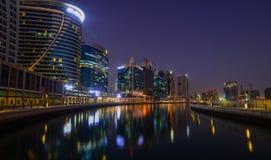 Night view of Dubai Marina royalty free stock photo