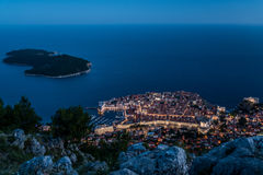 Night view of Dubrovnik old town and Lokrum island, Croatia Stock Images