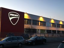Night view of the Ducati Factory royalty free stock image