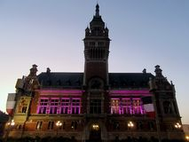 Beautifully illuminated historic building in Dunkirk. Night view of Dunkirk, France Stock Image
