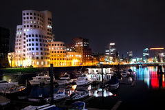 Night view of Dusseldorf Media Harbor Stock Image