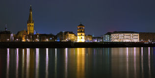 Night view of Dusseldorf Old Town Royalty Free Stock Photos
