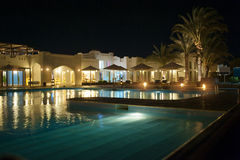 Night view of the Egyptian hotel Royalty Free Stock Image