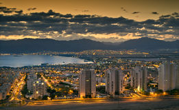 Night view on Eilat and the Aqaba gulf (Red Sea) Stock Images
