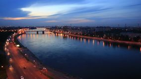 Night view of the embankment of the river Neva and bridge. Night view of the embankment of the river Neva, Saint Petersburg, Russia. Video can be used as stock footage