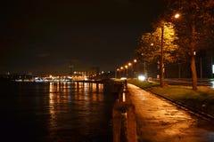 Night view of embankment in St Petersburg Stock Photos