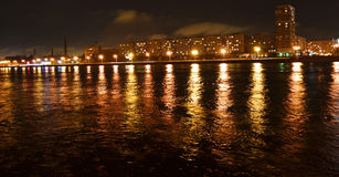 Night view of embankment in St Petersburg Royalty Free Stock Image