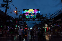 Night view of the entrance of Bangla Road in walking street Patong near patong beach Stock Photos