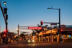 Night view of the entrance sign of Edgewater area. Edgewater, MAY 4: Night view of the entrance sign on MAY 4, 2017 at Edgewater, Colorado Stock Image