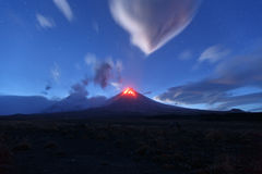 Night view of eruption Klyuchevskoy Volcano. Kamchatka Peninsula Stock Images
