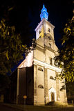 Night view of the Evangelical Church in Cieszyn stock photo