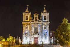 Facade of Church of Saint Ildefonso in Porto city, Portugal. Night view of facade of Church of Saint Ildefonso Igreja Paroquial de Santo Ildefonso in old center royalty free stock photography