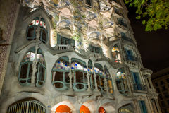 Night view of the facade of the house Casa Battlo in Barcelona, Spain Royalty Free Stock Photography