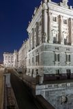 Night view of the facade of the Royal Palace of Madrid, Spain Royalty Free Stock Photo