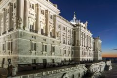 Night view of the facade of the Royal Palace of Madrid, Spain Royalty Free Stock Images