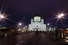 Night view of famous and beautiful Cathedral of Jesus Christ the Stock Photography