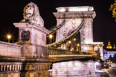 Night view of the famous Chain Bridge in Budapest, Hungary. The Stock Photo