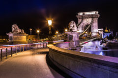 Night view of the famous Chain Bridge in Budapest, Hungary. The Royalty Free Stock Photos