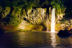 Night view of famous Cheonjiyeon Fall at Jeju Royalty Free Stock Images