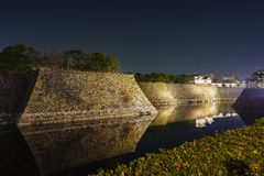 Night view of the famous Osaka Castle. Night view of the famous and historical Osaka Castle at Osaka, Japan stock photography